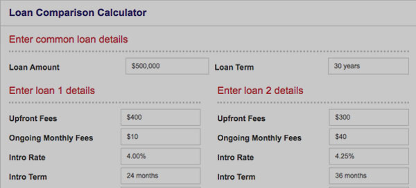 Home Loan Comparison Calculator to find the right loan for your needs and budget.